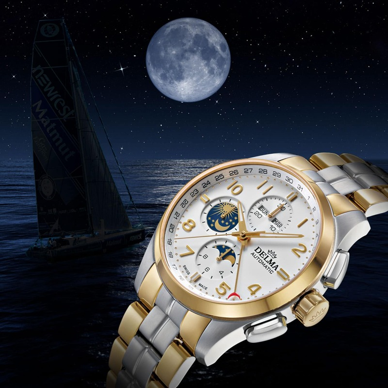 Delma Klondike Moonphase with Distinctive Day-and-Night Indicator
